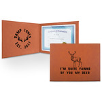 Deer Leatherette Certificate Holder (Personalized)