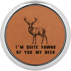 Deer Leatherette Round Coaster w/ Silver Edge - Single or Set (Personalized)