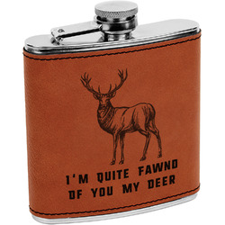 Deer Leatherette Wrapped Stainless Steel Flask (Personalized)