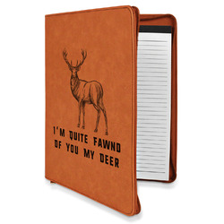 Deer Leatherette Zipper Portfolio with Notepad (Personalized)