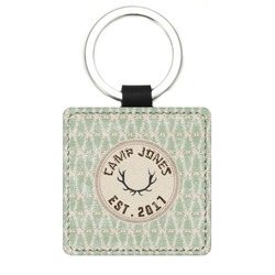 Deer Genuine Leather Rectangular Keychain (Personalized)