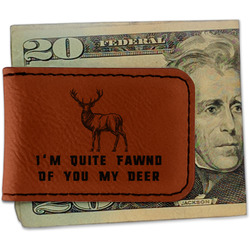 Deer Leatherette Magnetic Money Clip (Personalized)