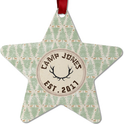 Deer Metal Star Ornament - Double Sided w/ Name or Text
