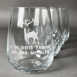Deer Stemless Wine Glasses (Set of 4) (Personalized)