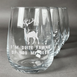 Deer Wine Glasses (Stemless- Set of 4) (Personalized)