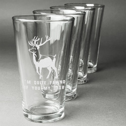 Deer Beer Glasses (Set of 4) (Personalized)