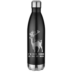 Deer Black Water Bottle - 26 oz. Stainless Steel  (Personalized)