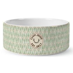 Deer Ceramic Dog Bowl (Personalized)