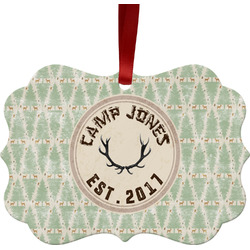 Deer Metal Frame Ornament - Double Sided w/ Name or Text