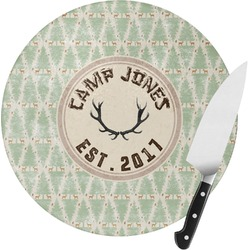 Deer Round Glass Cutting Board (Personalized)