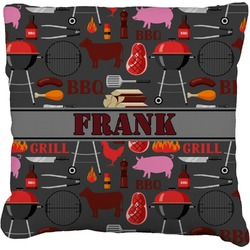 Barbeque Faux-Linen Throw Pillow (Personalized)