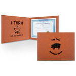 Barbeque Leatherette Certificate Holder (Personalized)