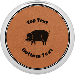 Barbeque Leatherette Round Coaster w/ Silver Edge - Single or Set (Personalized)