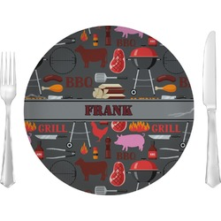 """Barbeque 10"""" Glass Lunch / Dinner Plates - Single or Set (Personalized)"""
