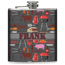 Barbeque Genuine Leather Flask (Personalized)