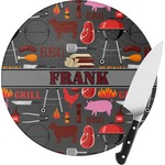Barbeque Round Glass Cutting Board (Personalized)