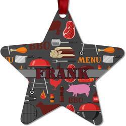Barbeque Metal Star Ornament - Double Sided w/ Name or Text