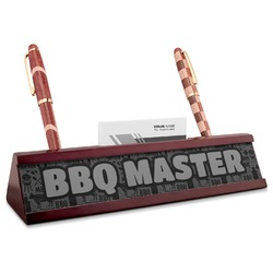 Barbeque Red Mahogany Nameplate with Business Card Holder (Personalized)