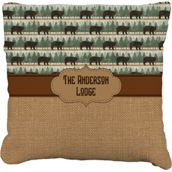 Cabin Faux-Linen Throw Pillow (Personalized)