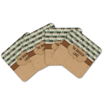 Cabin Cork Coaster - Set of 4 w/ Name or Text
