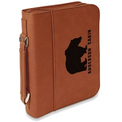 Cabin Leatherette Book / Bible Cover with Handle & Zipper (Personalized)