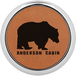 Cabin Leatherette Round Coaster w/ Silver Edge - Single or Set (Personalized)