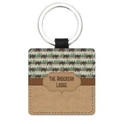 Cabin Genuine Leather Rectangular Keychain (Personalized)