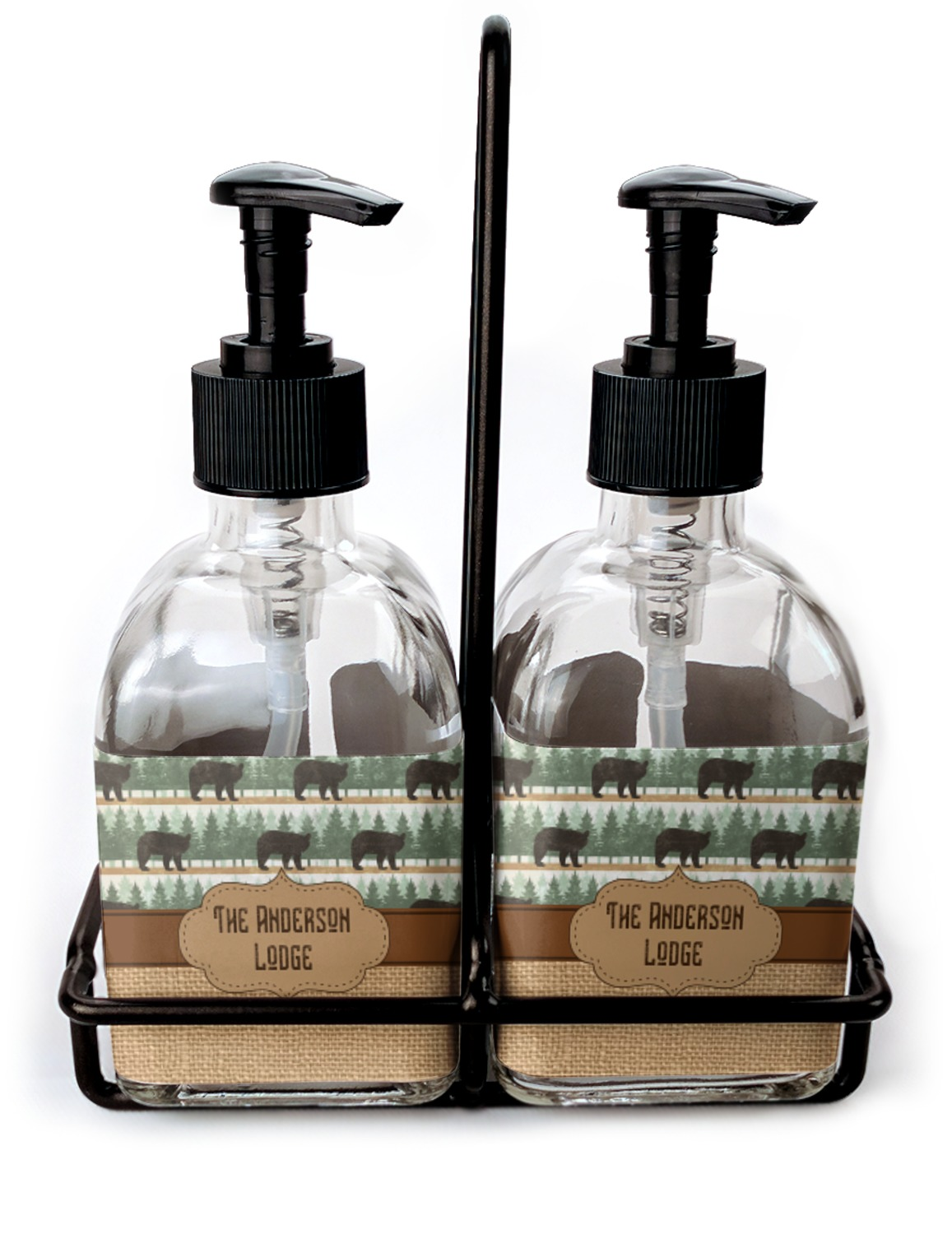 Cabin Soap Lotion Dispenser Set Glass Personalized