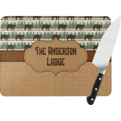 Cabin Rectangular Glass Cutting Board (Personalized)