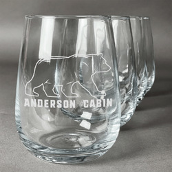 Cabin Wine Glasses (Stemless- Set of 4) (Personalized)