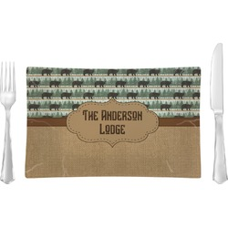 Cabin Rectangular Glass Lunch / Dinner Plate - Single or Set (Personalized)