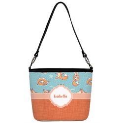 Foxy Yoga Bucket Bag w/ Genuine Leather Trim (Personalized)