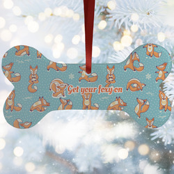 Foxy Yoga Ceramic Dog Ornaments w/ Name or Text