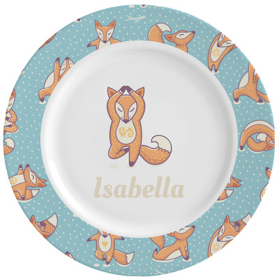 Foxy Yoga Ceramic Dinner Plates (Set of 4) (Personalized)