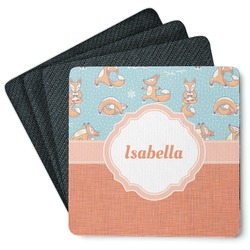 Foxy Yoga 4 Square Coasters - Rubber Backed (Personalized)