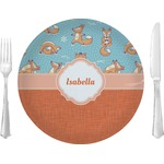 "Foxy Yoga Glass Lunch / Dinner Plates 10"" - Single or Set (Personalized)"