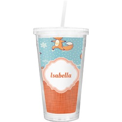 Foxy Yoga Double Wall Tumbler with Straw (Personalized)