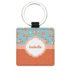 Foxy Yoga Genuine Leather Rectangular Keychain (Personalized)