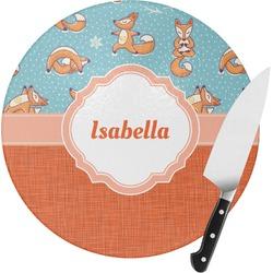 Foxy Yoga Round Glass Cutting Board (Personalized)