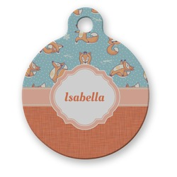 Foxy Yoga Round Pet Tag (Personalized)