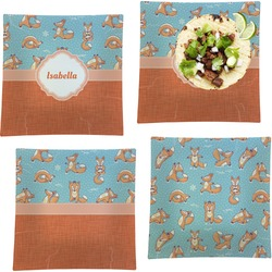 """Foxy Yoga Set of 4 Glass Square Lunch / Dinner Plate 9.5"""" (Personalized)"""