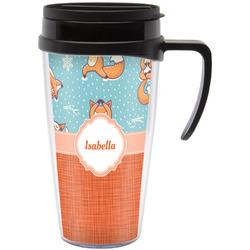 Foxy Yoga Travel Mug with Handle (Personalized)