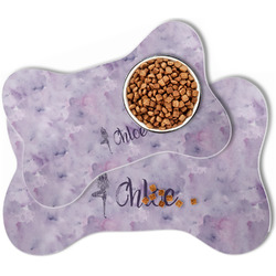 Watercolor Mandala Bone Shaped Dog Food Mat (Personalized)
