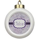Watercolor Mandala Ceramic Ball Ornament (Personalized)
