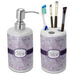 Watercolor Mandala Ceramic Bathroom Accessories Set (Personalized)