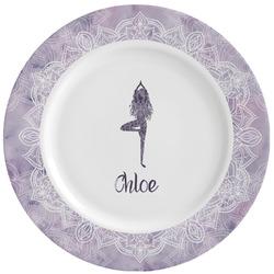 Watercolor Mandala Ceramic Dinner Plates (Set of 4) (Personalized)
