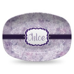Watercolor Mandala Plastic Platter - Microwave & Oven Safe Composite Polymer (Personalized)