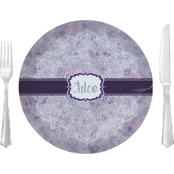 "Watercolor Mandala Glass Lunch / Dinner Plates 10"" - Single or Set (Personalized)"