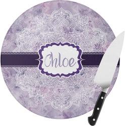 Watercolor Mandala Round Glass Cutting Board (Personalized)
