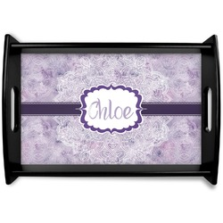 Watercolor Mandala Black Wooden Tray (Personalized)